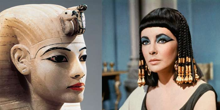 Egyptian statue and woman with makeup
