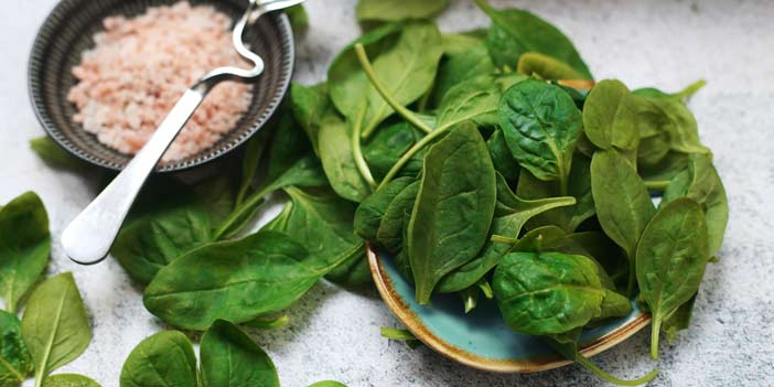 spinach with a bowl